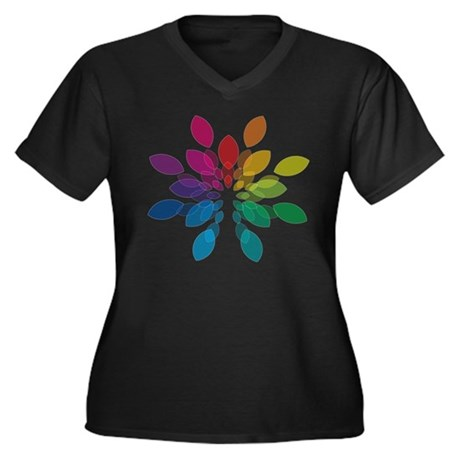 Lights Design Women's Plus Size V-Neck Dark T-Shir