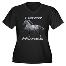 Tiger Horse varnish Women's Plus Size V-Neck Dark