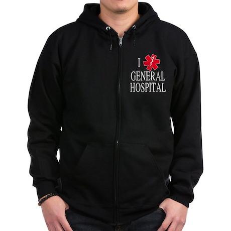 I Love General Hospital Zip Hoodie (dark)