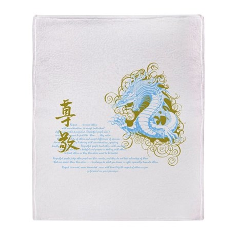 Respect -Chinese Dragon Blue Throw Blanket