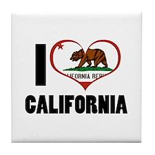 I Heart California Tile Coaster