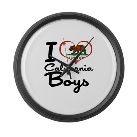I Heart California Boys Large Wall Clock