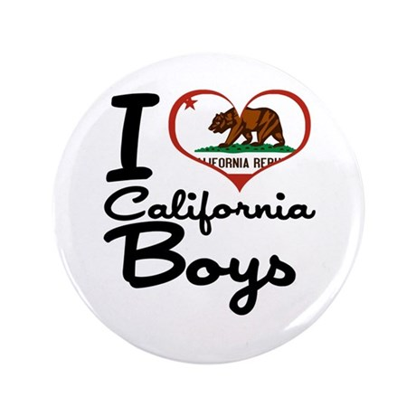 "I Heart California Boys 3.5"" Button (100 pack)"