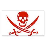 Pirates Red Sticker (Rectangle 50 pk)