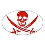 Pirates Red Sticker (Oval 50 pk)
