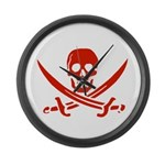 Pirates Red Large Wall Clock