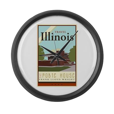 Travel Illinois Large Wall Clock