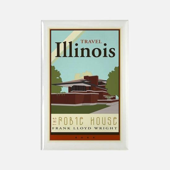 Travel Illinois Rectangle Magnet