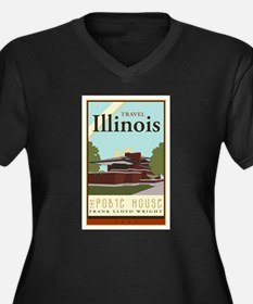 Travel Illinois Women's Plus Size V-Neck Dark T-Sh