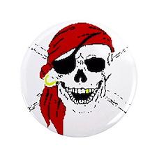 """Pirate Skull 3.5"""" Button"""