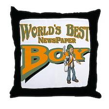 Newspaper Boy Throw Pillow