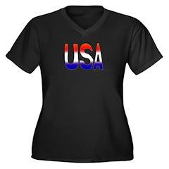 USA III Women's Plus Size V-Neck Dark T-Shirt