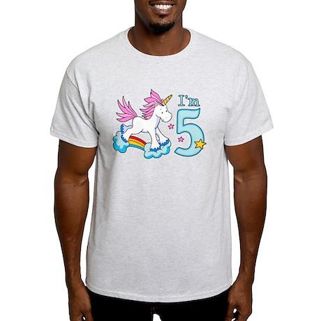 Rainbow Unicorn 5th Birthday Light T-Shirt