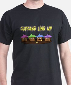 cupcake line up for black T-Shirt