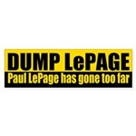 Dump Paul LePage bumper sticker for Maine