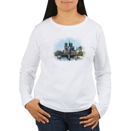 Notre Dame Watercolor/Paris Women's Long Sleeve T