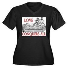Cute Augustus Women's Plus Size V-Neck Dark T-Shirt