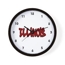 Illinois Graffiti Wall Clock