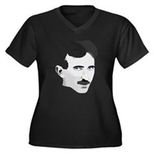 Nikola Tesla Women's Plus Size V-Neck Dark T-Shirt