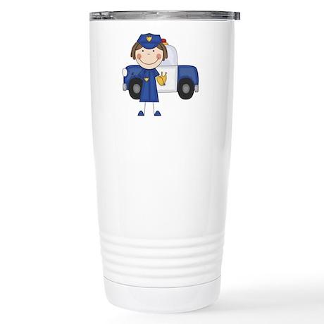 Female Police Officer Stainless Steel Travel Mug