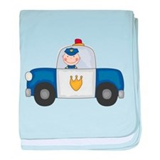 Police Officer in Cruiser baby blanket