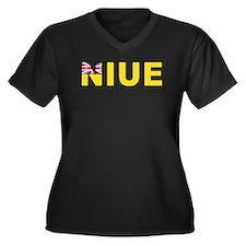 Niue Women's Plus Size V-Neck Dark T-Shirt