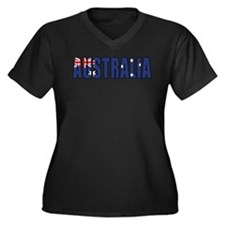 Australia Women's Plus Size V-Neck Dark T-Shirt