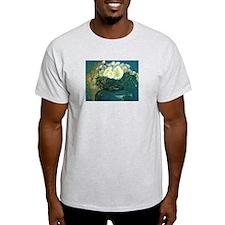 white mums in blue vase T-Shirt