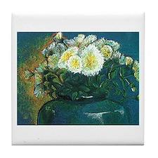 white mums in blue vase Tile Coaster