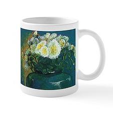 white mums in blue vase Mug