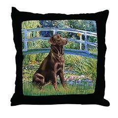 Bridge / Labrador (Choc) Throw Pillow