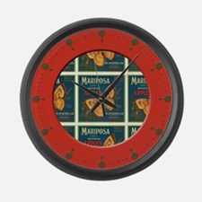 Fruit Crate Label Large Wall Clock