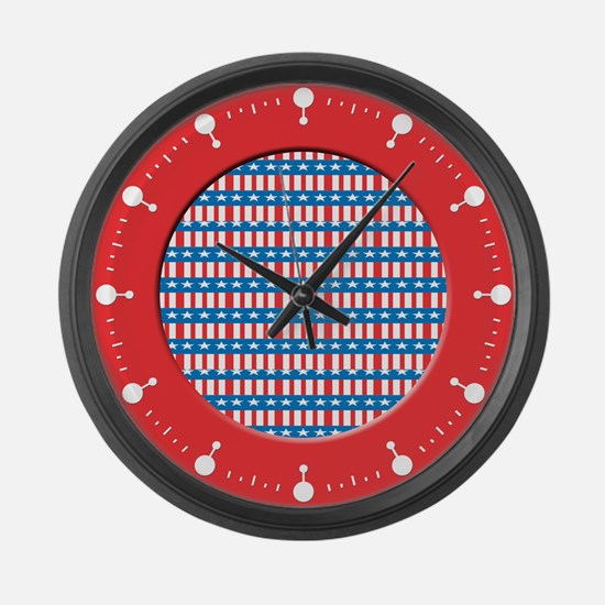 Patriotic Stars and Stripes Large Wall Clock