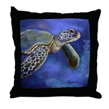 Turtle Blues Throw Pillow