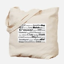 Tennis Words Tote Bag