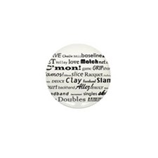 Tennis Words Mini Button