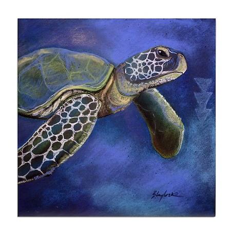 Turtle Blues Tile Coaster