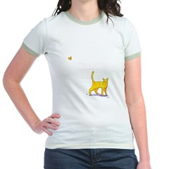 Kitty and Butterfly Jr. Ringer T-Shirt
