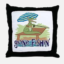 Gone Fishing Throw Pillow