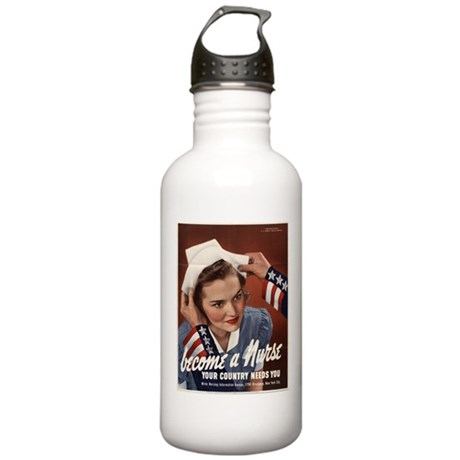 WW2 POSTER BECOME A NURSE Stainless Water Bottle 1