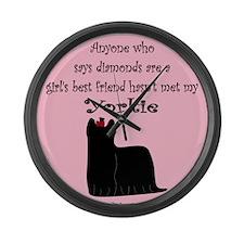 Girls Best Friend - Yorkie Large Wall Clock