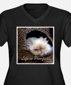 Life is Purrfect Women's Plus Size V-Neck Dark T-S