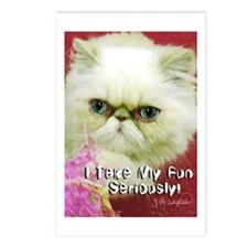White Persian and Pink Postcards (Package of 8)