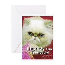 White Persian and Pink Greeting Card