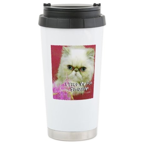White Persian and Pink Stainless Steel Travel Mug