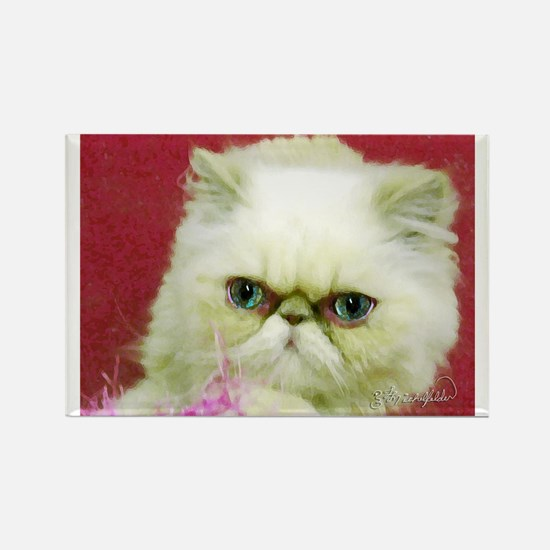 White Persian and Pink Rectangle Magnet