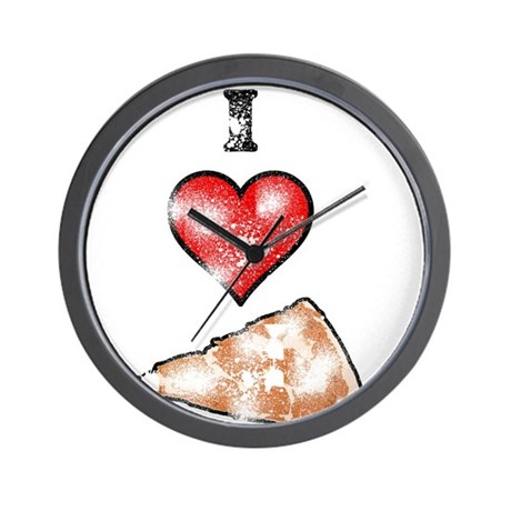 Vintage I Heart Pizza Slice Wall Clock