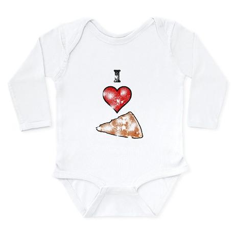 Vintage I Heart Pizza Slice Long Sleeve Infant Bod