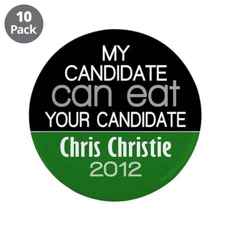 """Funny Chris Christie 2012 3.5"""" Button (10 pack)"""