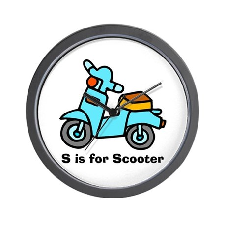 S is for Scooter! Wall Clock